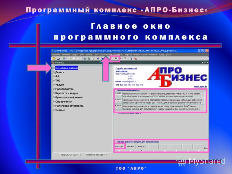 Главное окно программного комплекса ТОО АПРО Программный комплекс «АПРО-Бизнес»