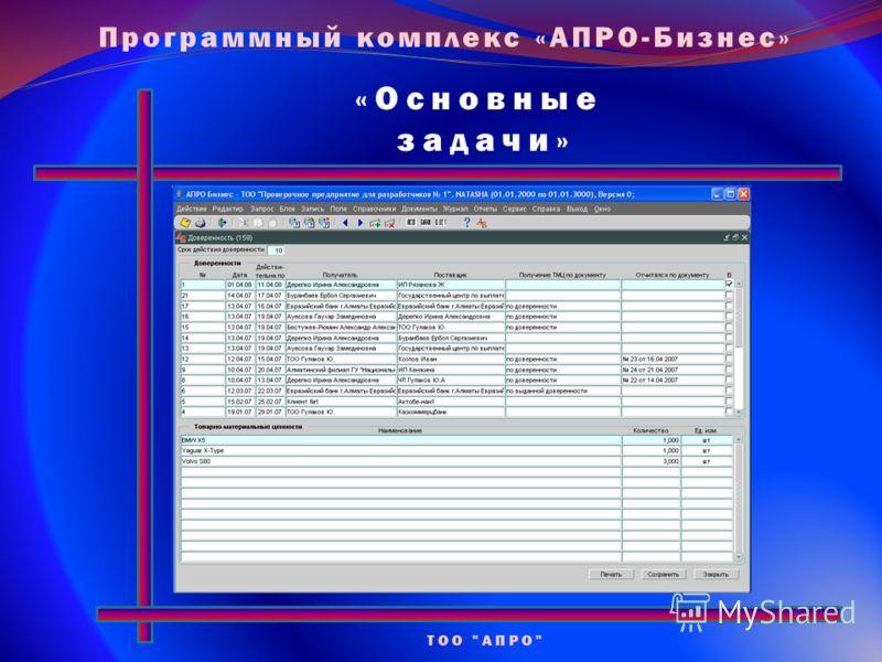 «Основные задачи» ТОО АПРО Программный комплекс «АПРО-Бизнес»