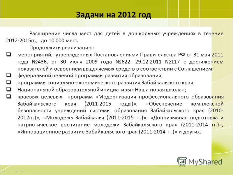 105 Задачи на 2012 год Расширение числа мест для детей в дошкольных учреждениях в течение 2012-2015гг., до 10 000 мест. Продолжить реализацию: мероприятий, утвержденных Постановлениями Правительства РФ от 31 мая 2011 года 436, от 30 июля 2009 года 62