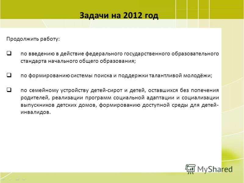 106 Задачи на 2012 год Продолжить работу: по введению в действие федерального государственного образовательного стандарта начального общего образования; по формированию системы поиска и поддержки талантливой молодёжи; по семейному устройству детей-си
