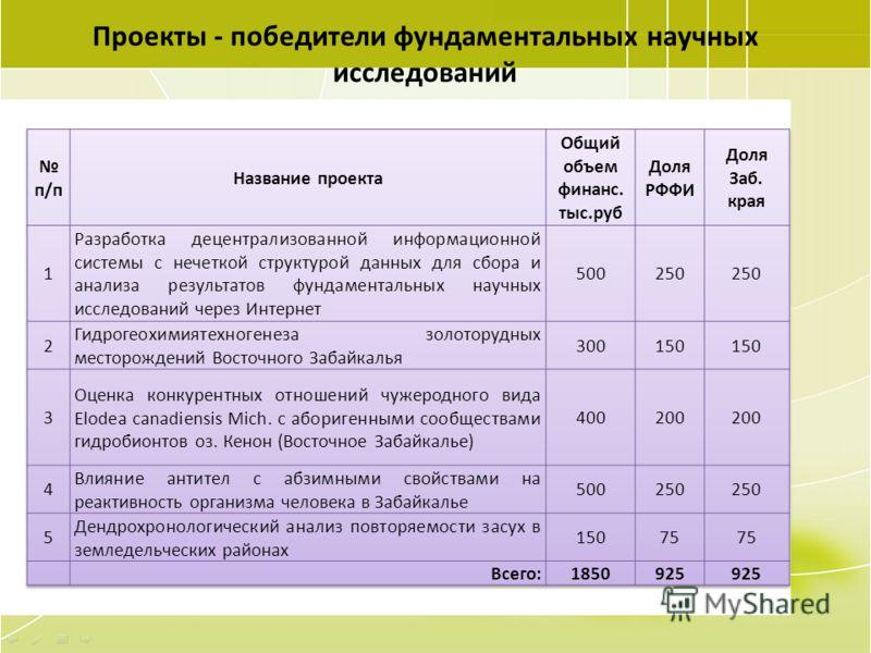 95 Проекты - победители фундаментальных научных исследований