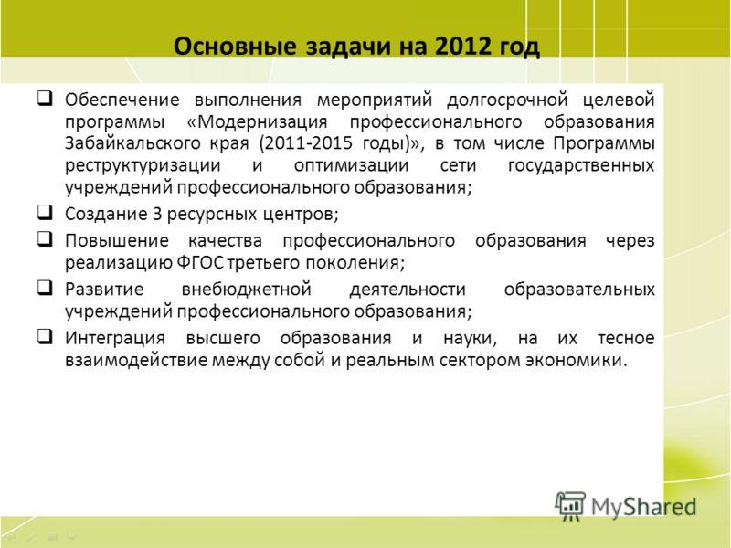 97 Основные задачи на 2012 год Обеспечение выполнения мероприятий долгосрочной целевой программы «Модернизация профессионального образования Забайкальского края (2011-2015 годы)», в том числе Программы реструктуризации и оптимизации сети государствен
