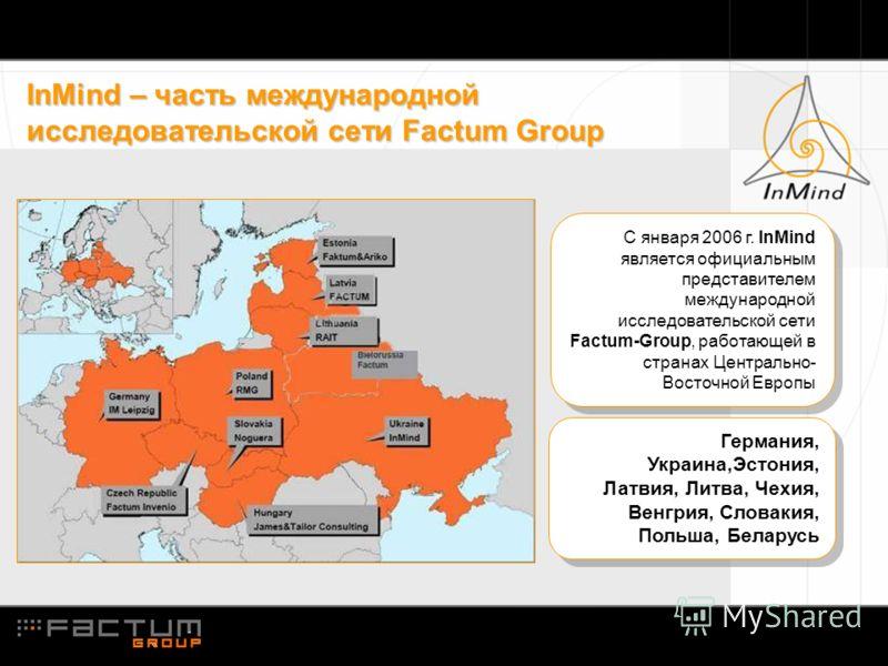InMind – часть международной исследовательской сети Factum Group С января 2006 г. InMind является официальным представителем международной исследовательской сети Factum-Group, работающей в странах Центрально- Восточной Европы Германия, Украина,Эстони