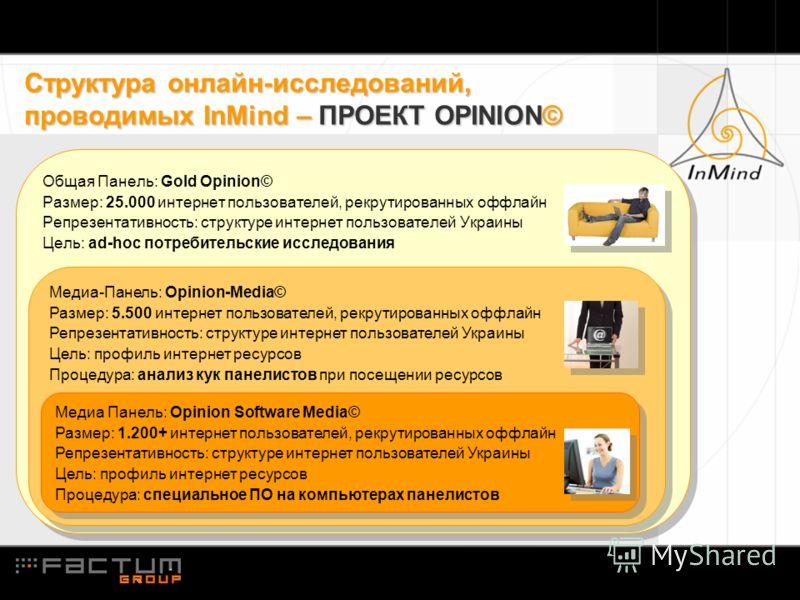 Структура онлайн-исследований, проводимых InMind – ПРОЕКТ OPINION© Общая Панель: Gold Opinion© Размер: 25.000 интернет пользователей, рекрутированных оффлайн Репрезентативность: структуре интернет пользователей Украины Цель: ad-hoc потребительские ис