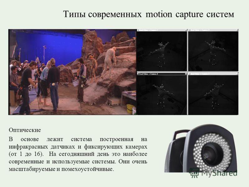 Типы современных motion capture систем Оптические В основе лежит система построенная на инфракрасных датчиках и фиксирующих камерах (от 1 до 16). На сегодняшний день это наиболее современные и используемые системы. Они очень масштабируемые и помехоус