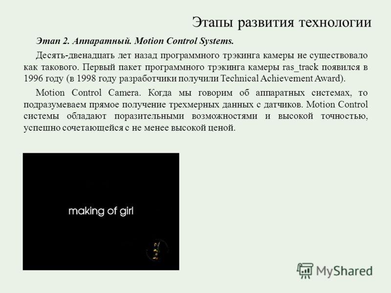 Этапы развития технологии Этап 2. Аппаратный. Motion Control Systems. Десять-двенадцать лет назад программного трэкинга камеры не существовало как такового. Первый пакет программного трэкинга камеры ras_track появился в 1996 году (в 1998 году разрабо