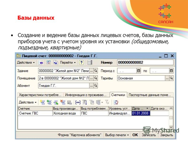 Базы данных Базы данных Создание и ведение базы данных лицевых счетов, базы данных приборов учета с учетом уровня их установки (общедомовые, подъездные, квартирные)