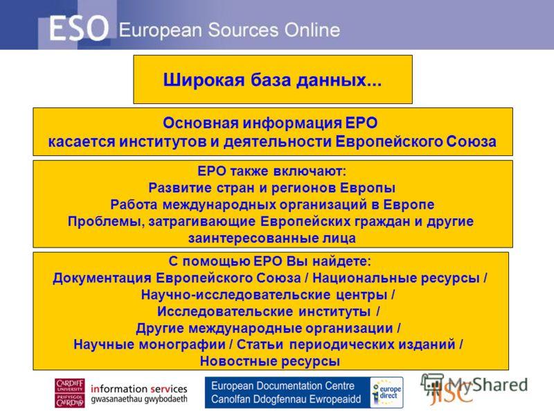 Широкая база данных... Основная информация ЕРО касается институтов и деятельности Европейского Союза ЕРО также включают: Развитие стран и регионов Европы Работа международных организаций в Европе Проблемы, затрагивающие Европейских граждан и другие з