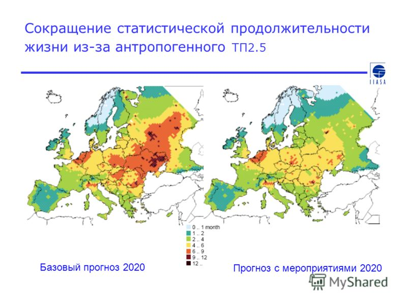 Сокращение статистической продолжительности жизни из-за антропогенного ТП2.5 Базовый прогноз 2020 Прогноз с мероприятиями 2020