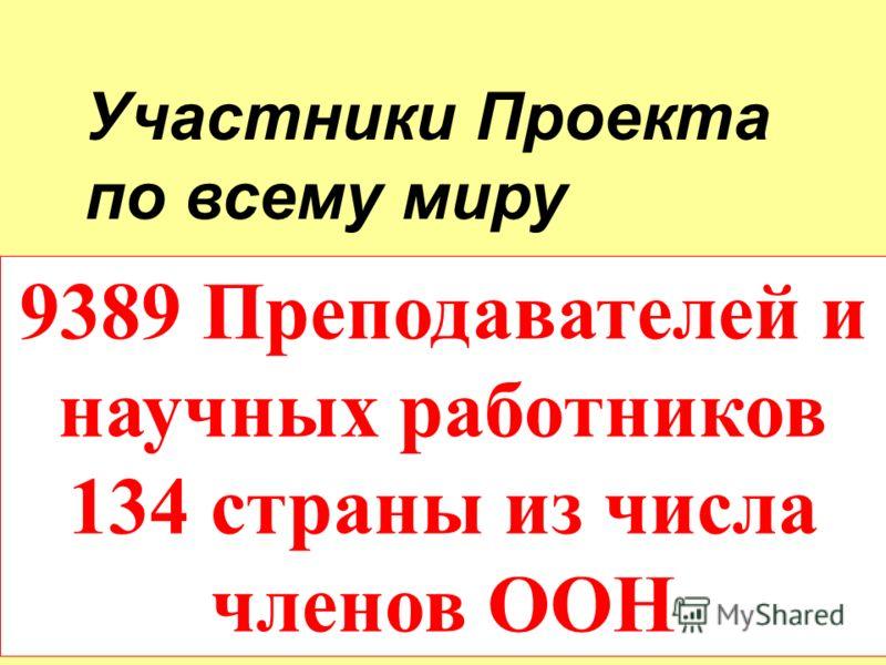 9389 Преподавателей и научных работников 134 страны из числа членов ООН Участники Проекта по всему миру