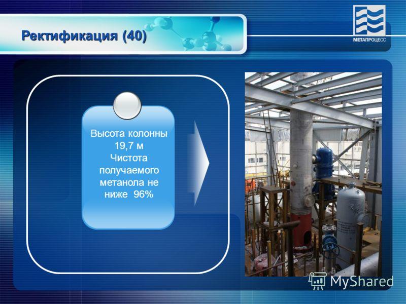 Ректификация (40) Высота колонны 19,7 м Чистота получаемого метанола не ниже 96%