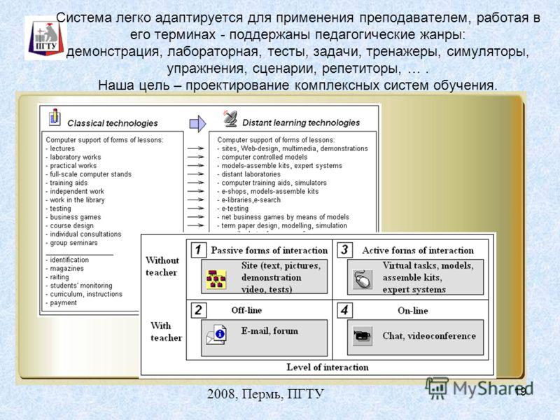 2008, Пермь, ПГТУ 19 Система легко адаптируется для применения преподавателем, работая в его терминах - поддержаны педагогические жанры: демонстрация, лабораторная, тесты, задачи, тренажеры, симуляторы, упражнения, сценарии, репетиторы, …. Наша цель