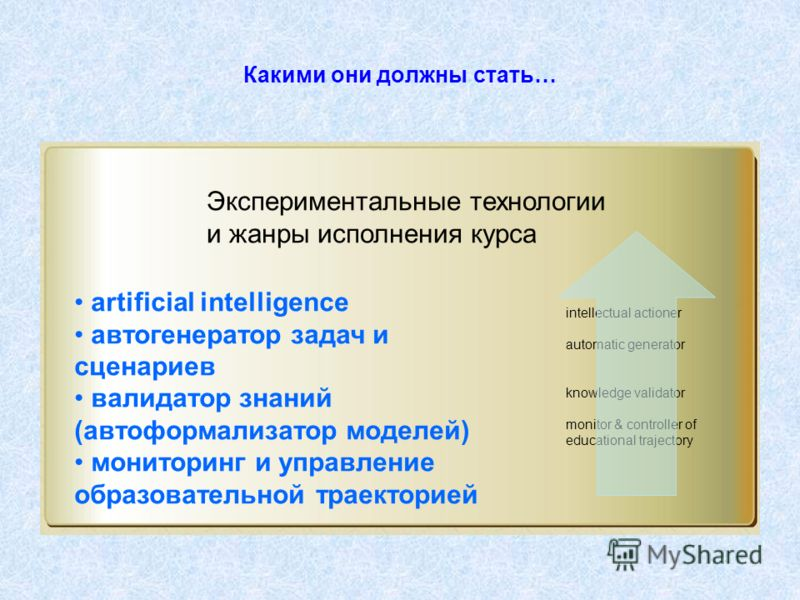 Какими они должны стать… artificial intelligence автогенератор задач и сценариев валидатор знаний (автоформализатор моделей) мониторинг и управление образовательной траекторией Экспериментальные технологии и жанры исполнения курса intellectual action