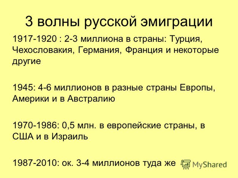 3 волны русской эмиграции 1917-1920 : 2-3 миллиона в страны: Турция, Чехословакия, Германия, Франция и некоторые другие 1945: 4-6 миллионов в разные страны Европы, Америки и в Австралию 1970-1986: 0,5 млн. в европейские страны, в США и в Израиль 1987