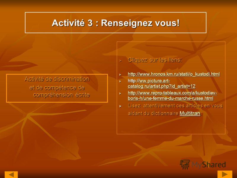 Activité 3 : Renseignez vous! Activité de discrimination et de compétence de compréhension écrite Cliquez sur les liens : Cliquez sur les liens : http://www.hronos.km.ru/statii/o_kustodi.html http://www.hronos.km.ru/statii/o_kustodi.html http://www.h