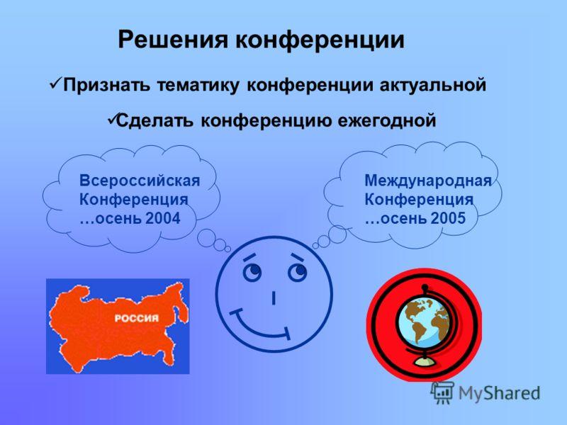 Международная Конференция …осень 2005 Всероссийская Конференция …осень 2004 Решения конференции Признать тематику конференции актуальной Сделать конференцию ежегодной