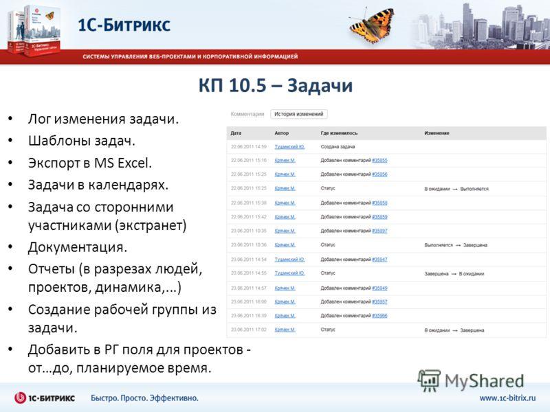 КП 10.5 – Задачи Лог изменения задачи. Шаблоны задач. Экспорт в MS Excel. Задачи в календарях. Задача со сторонними участниками (экстранет) Документация. Отчеты (в разрезах людей, проектов, динамика,...) Создание рабочей группы из задачи. Добавить в