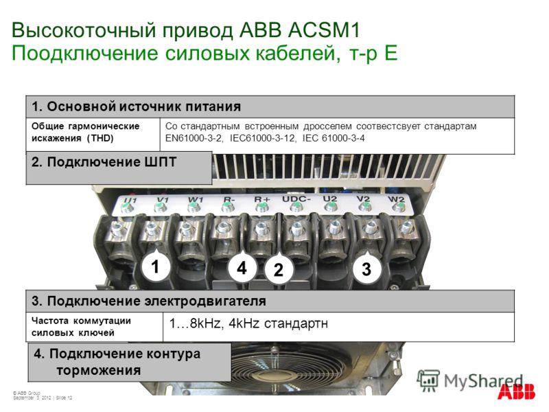 © ABB Group September 3, 2012 | Slide 12 3. Подключение электродвигателя Частота коммутации силовых ключей 1…8kHz, 4kHz стандартн 4. Подключение контура торможения 1. Основной источник питания Общие гармонические искажения (THD) Со стандартным встрое