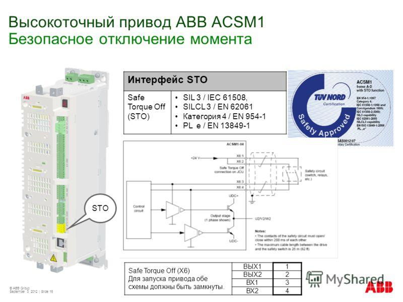 © ABB Group September 3, 2012 | Slide 16 Высокоточный привод АВВ ACSM1 Безопасное отключение момента Интерфейс STO Safe Torque Off (STO) SIL 3 / IEC 61508, SILCL 3 / EN 62061 Категория 4 / EN 954-1 PL e / EN 13849-1 STO Safe Torque Off (X6) Для запус
