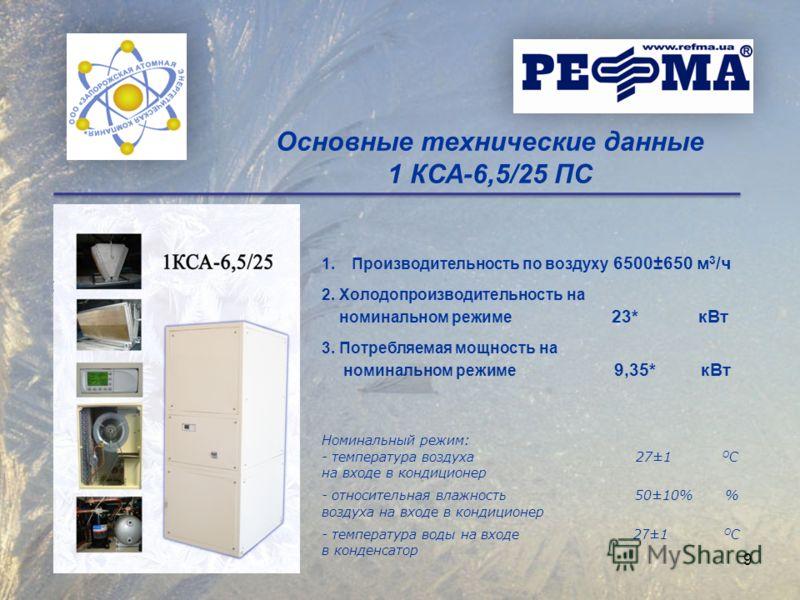 1.Производительность по воздуху 6500±650 м 3 /ч 2. Холодопроизводительность на номинальном режиме 23* кВт 3. Потребляемая мощность на номинальном режиме 9,35* кВт Номинальный режим: - температура воздуха 27±1 О С на входе в кондиционер - относительна
