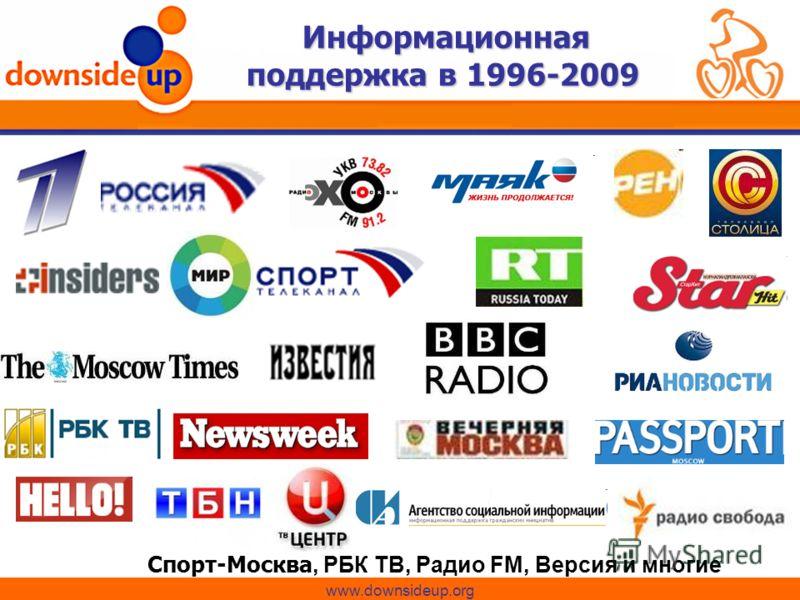 Информационная поддержка в 1996-2009 Спорт-Москва, РБК ТВ, Радио FM, Версия и многие другие www.downsideup.org