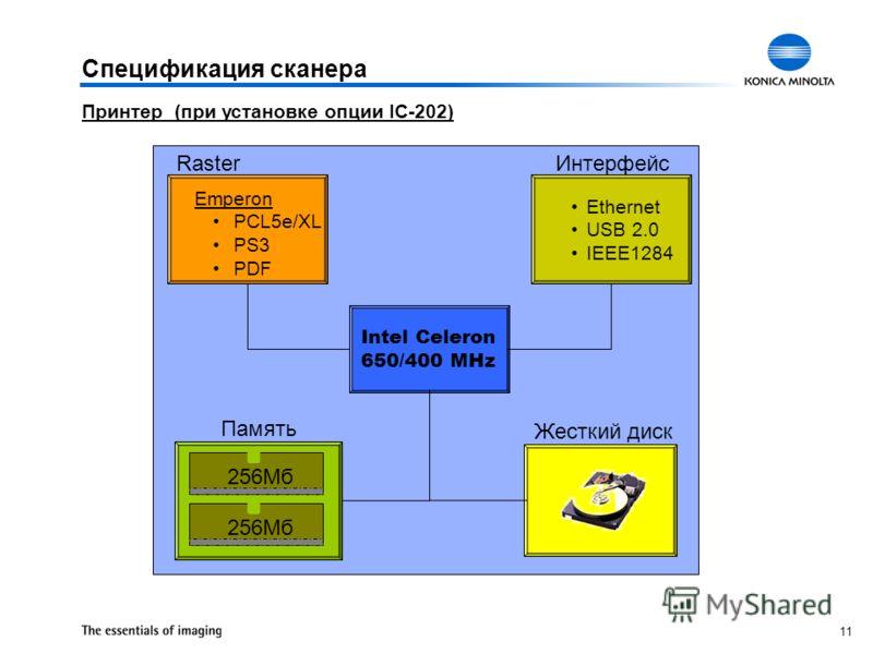 11 Спецификация сканера Принтер (при установке опции IC-202) Intel Celeron 650/400 MHz Ethernet USB 2.0 IEEE1284 Raster Память Интерфейс Жесткий диск 256Мб Emperon PCL5e/XL PS3 PDF