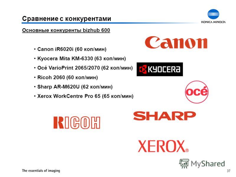 37 Основные конкуренты bizhub 600 Canon iR6020i (60 коп/мин) Kyocera Mita KM-6330 (63 коп/мин) Océ VarioPrint 2065/2070 (62 коп/мин) Ricoh 2060 (60 коп/мин) Sharp AR-M620U (62 коп/мин) Xerox WorkCentre Pro 65 (65 коп/мин) Сравнение с конкурентами