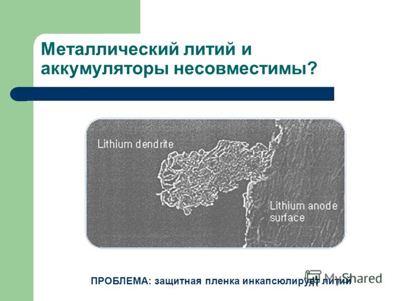 Металлический литий и аккумуляторы несовместимы? ПРОБЛЕМА: защитная пленка инкапсюлирует литий