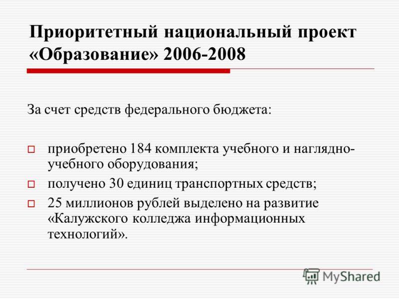 Приоритетный национальный проект «Образование» 2006-2008 За счет средств федерального бюджета: приобретено 184 комплекта учебного и наглядно- учебного оборудования; получено 30 единиц транспортных средств; 25 миллионов рублей выделено на развитие «Ка