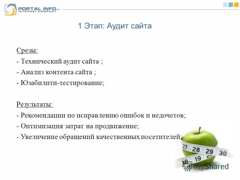 1 Этап: Аудит сайта Срезы: - Технический аудит сайта ; - Анализ контента сайта ; - Юзабилити-тестирование; Результаты: - Рекомендации по исправлению ошибок и недочетов; - Оптимизация затрат на продвижение; - Увеличение обращений качественных посетите