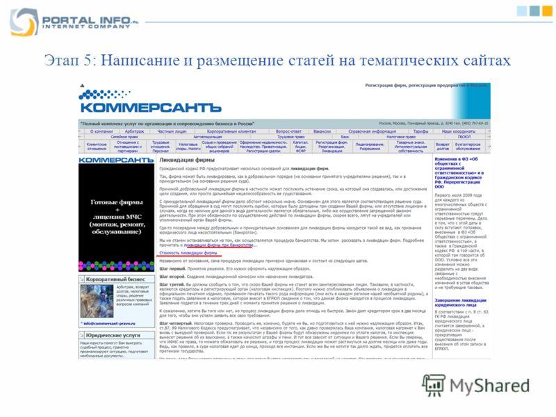 Этап 5: Написание и размещение статей на тематических сайтах