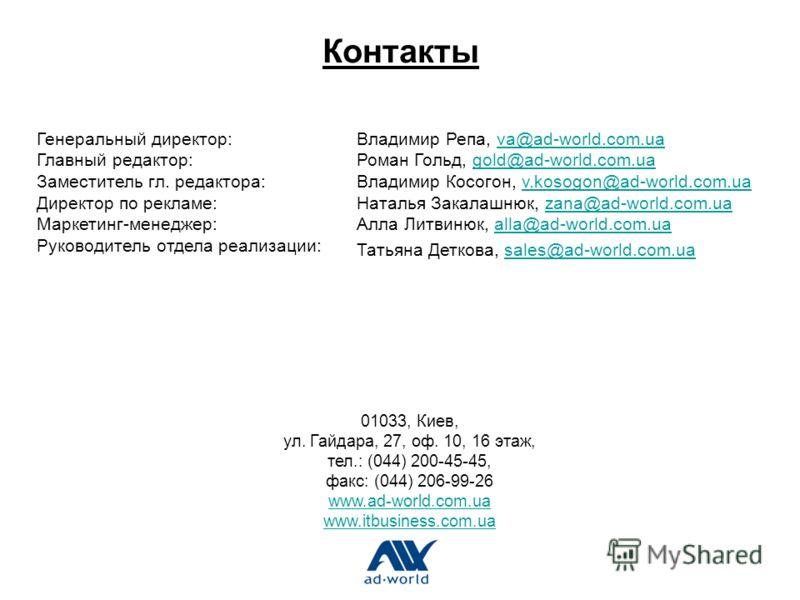 Контакты 01033, Киев, ул. Гайдара, 27, оф. 10, 16 этаж, тел.: (044) 200-45-45, факс: (044) 206-99-26 www.ad-world.com.ua www.itbusiness.com.ua www.ad-world.com.ua www.itbusiness.com.ua Генеральный директор: Главный редактор: Заместитель гл. редактора