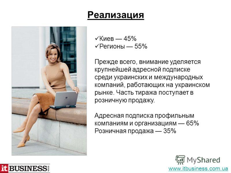Реализация Киев 45% Регионы 55% Прежде всего, внимание уделяется крупнейшей адресной подписке среди украинских и международных компаний, работающих на украинском рынке. Часть тиража поступает в розничную продажу. Адресная подписка профильным компания