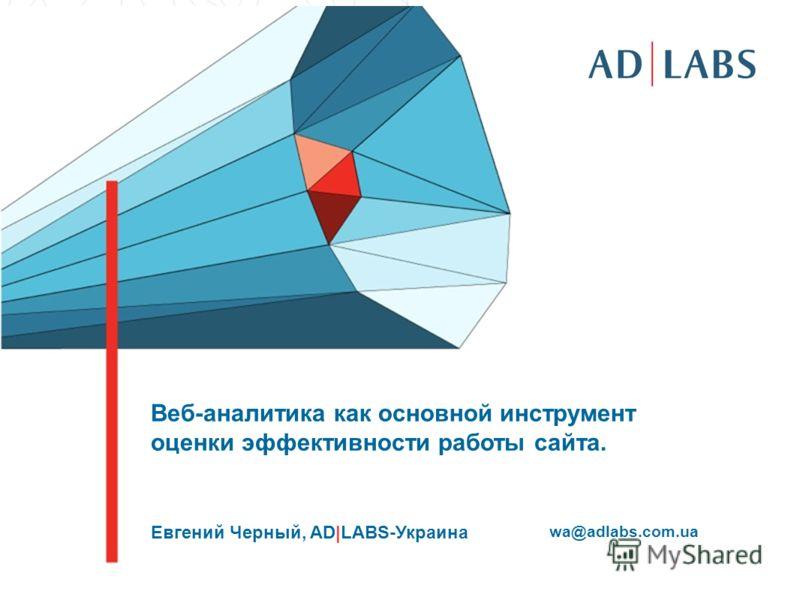 Веб-аналитика как основной инструмент оценки эффективности работы сайта. Евгений Черный, AD|LABS-Украина wa@adlabs.com.ua