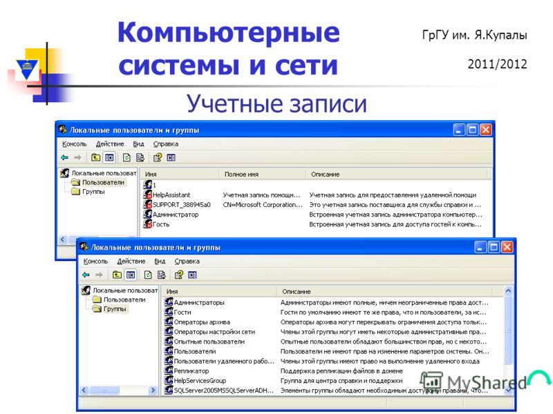 Компьютерные системы и сети ГрГУ им. Я.Купалы 2011/2012 Учетные записи