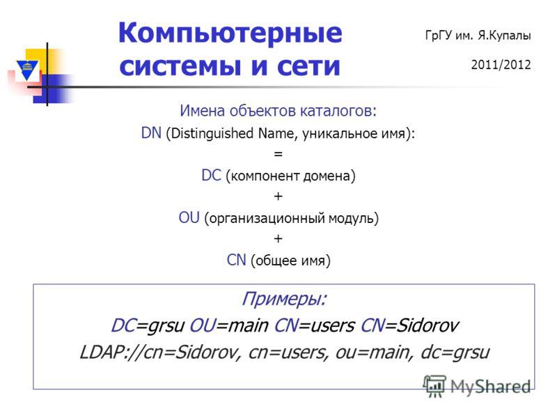 Компьютерные системы и сети ГрГУ им. Я.Купалы 2011/2012 Имена объектов каталогов: DN (Distinguished Name, уникальное имя): = DC (компонент домена) + OU (организационный модуль) + CN (общее имя) Примеры: DC=grsu OU=main CN=users CN=Sidorov LDAP://cn=S