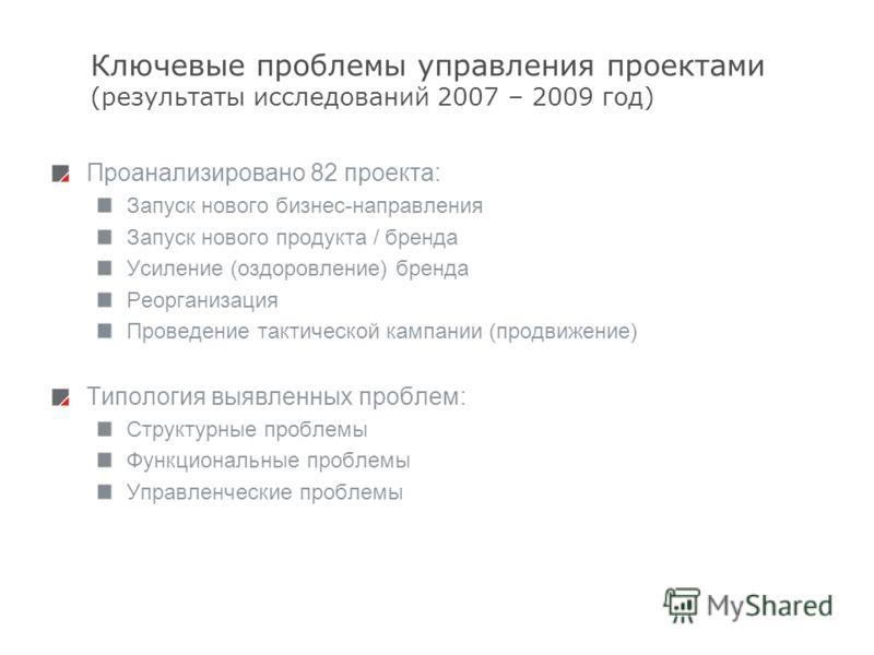 6 Ключевые проблемы управления проектами (результаты исследований 2007 – 2009 год) Проанализировано 82 проекта: Запуск нового бизнес-направления Запуск нового продукта / бренда Усиление (оздоровление) бренда Реорганизация Проведение тактической кампа