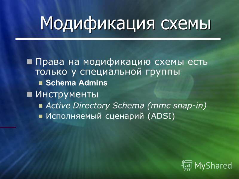 Модификация схемы Права на модификацию схемы есть только у специальной группы Schema Admins Инструменты Active Directory Schema (mmc snap-in) Исполняемый сценарий (ADSI)