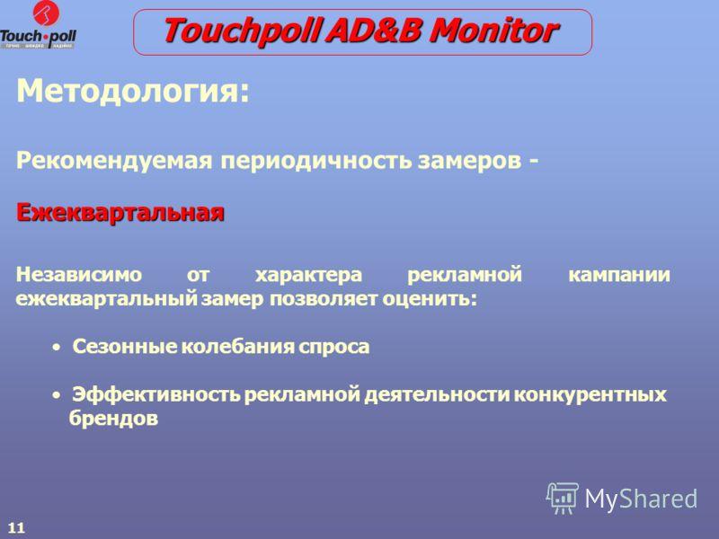 11 Touchpoll AD&B Monitor Методология: Рекомендуемая периодичность замеров -Ежеквартальная Независимо от характера рекламной кампании ежеквартальный замер позволяет оценить: Сезонные колебания спроса Эффективность рекламной деятельности конкурентных