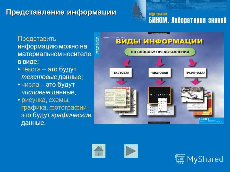 Представление информации Представить информацию можно на материальном носителе в виде: текста – это будут текстовые данные; числа – это будут числовые данные; рисунка, схемы, графика, фотографии – это будут графические данные.