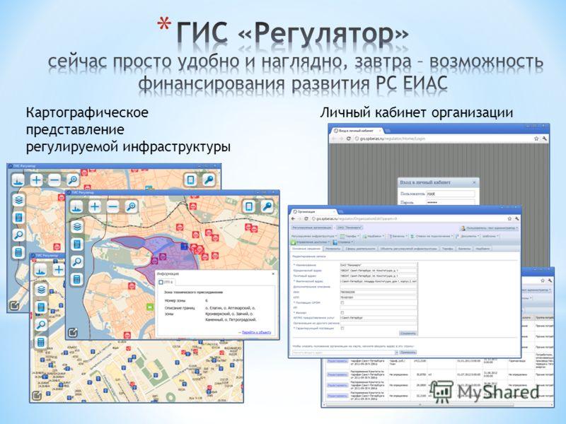 Картографическое представление регулируемой инфраструктуры Личный кабинет организации