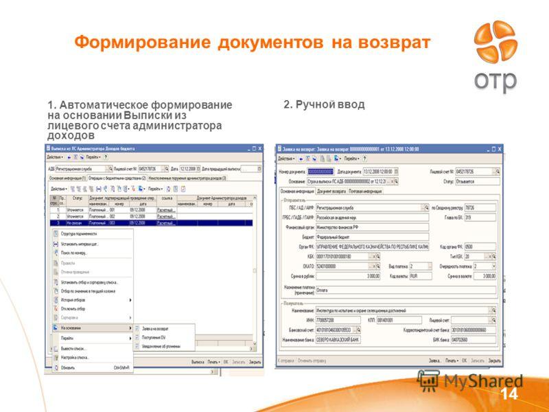 14 Формирование документов на возврат 1. Автоматическое формирование на основании Выписки из лицевого счета администратора доходов 2. Ручной ввод
