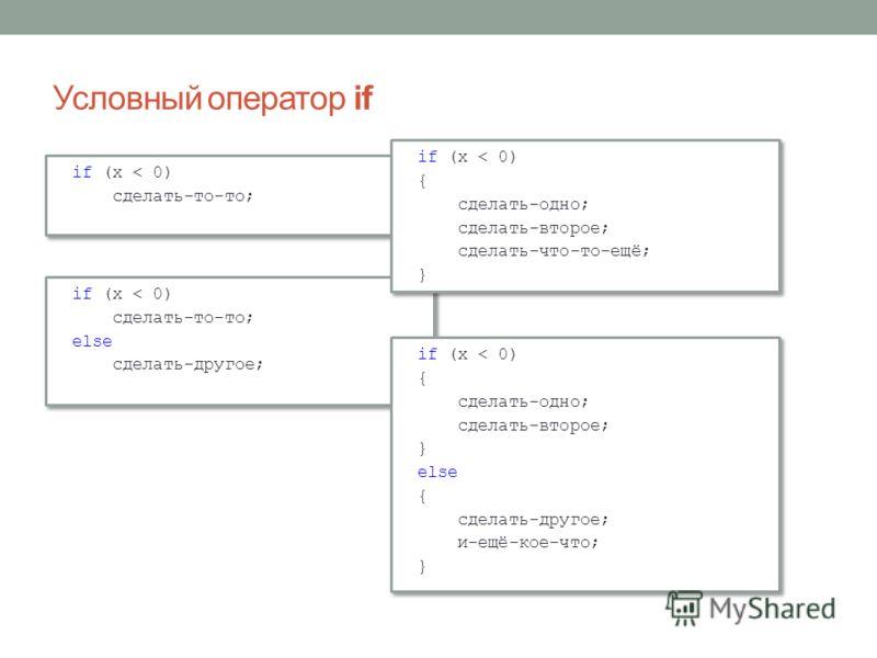 Условный оператор if if (x < 0) сделать-то-то; if (x < 0) сделать-то-то; if (x < 0) сделать-то-то; else сделать-другое; if (x < 0) сделать-то-то; else сделать-другое; if (x < 0) { сделать-одно; сделать-второе; сделать-что-то-ещё; } if (x < 0) { сдела