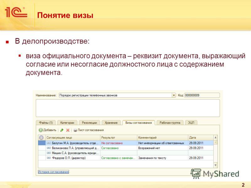 2 Понятие визы В делопроизводстве: виза официального документа – реквизит документа, выражающий согласие или несогласие должностного лица с содержанием документа.