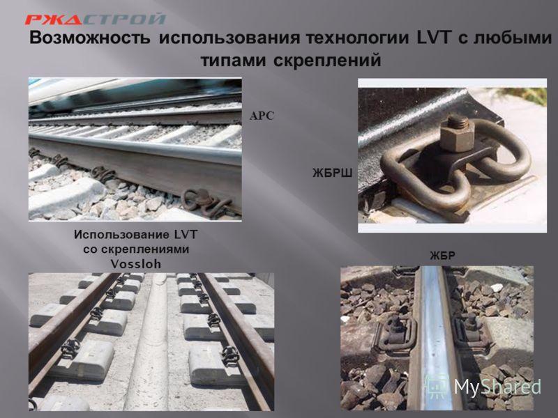 Возможность использования технологии LVT с любыми типами скреплений Использование LVT со скреплениями Vossloh АРС ЖБРШ ЖБР