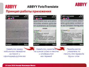 Принцип работы приложения ABBYY FotoTranslate Наведите камеру мобильного телефона на текст и сфотографируйте его Наведите указатель на нужное слово в тексте и отобразится его перевод Передвигайте указатель по тексту для перевода других слов 14 мая 20