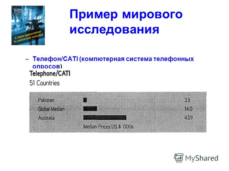 Пример мирового исследования –Телефон/САТI (компютерная система телефонных опросов)