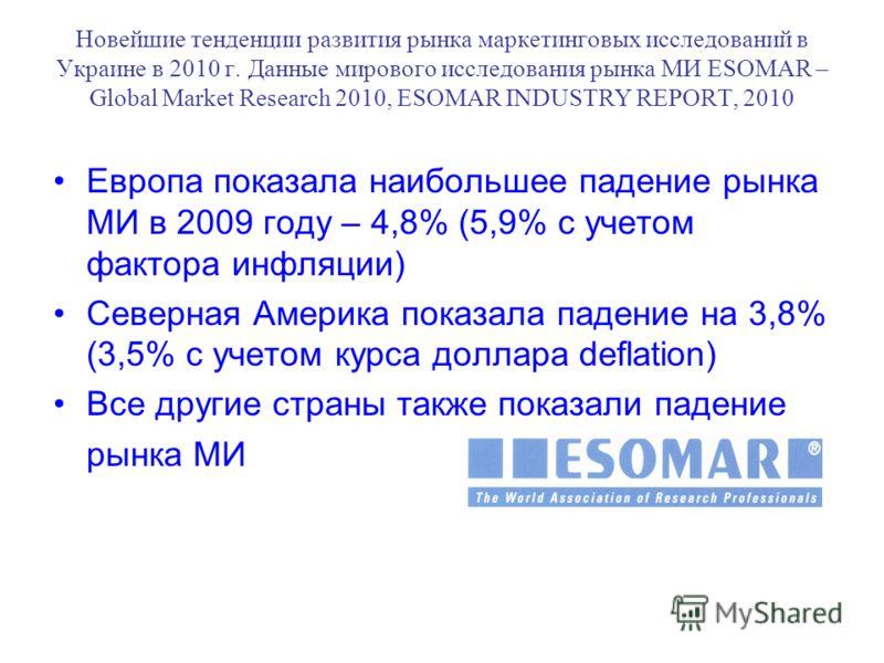 Новейшие тенденции развития рынка маркетинговых исследований в Украине в 2010 г. Данные мирового исследования рынка МИ ESOMAR – Global Market Research 2010, ESOMAR INDUSTRY REPORT, 2010 Европа показала наибольшее падение рынка МИ в 2009 году – 4,8% (