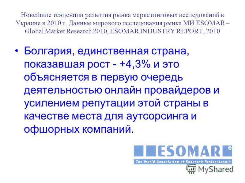 Новейшие тенденции развития рынка маркетинговых исследований в Украине в 2010 г. Данные мирового исследования рынка МИ ESOMAR – Global Market Research 2010, ESOMAR INDUSTRY REPORT, 2010 Болгария, единственная страна, показавшая рост - +4,3% и это объ