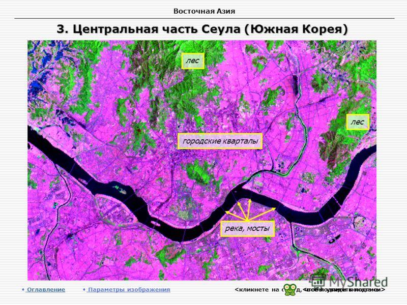 Восточная Азия 3. Центральная часть Сеула (Южная Корея) Оглавление Оглавление Параметры изображения лес городские кварталы река, мосты лес
